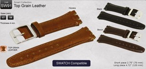 Swatch Compatible Top Grain Leather Watchband SW91
