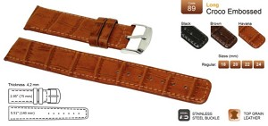 89 Extra-Long Croco Embossed Top Grain Leather Watchband